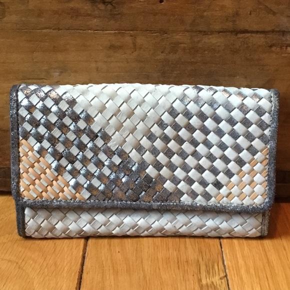 Anthropologie Handbags - Anthro Jasper & Jeera Leather Woven Clutch Wallet
